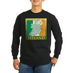 Ireland Map and Flag Long Sleeve Dark T-Shirt