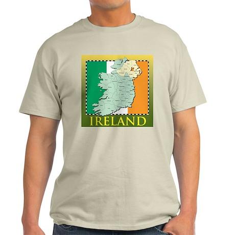 Ireland Map and Flag Light T-Shirt