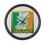 Ireland Map and Flag Large Wall Clock