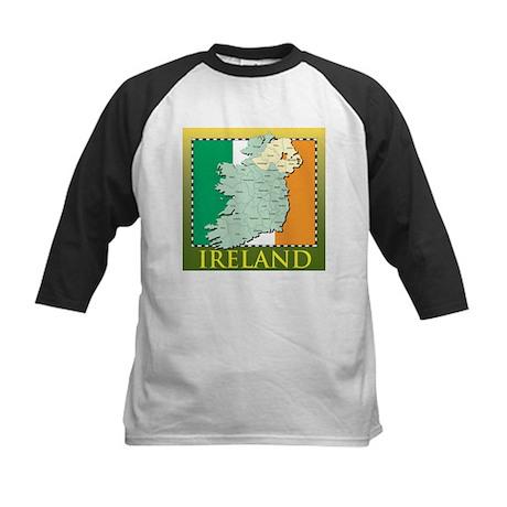 Ireland Map and Flag Kids Baseball Jersey
