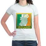 Ireland Map and Flag Jr. Ringer T-Shirt