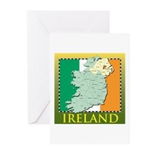 Ireland Map and Flag Greeting Cards (Pk of 10)