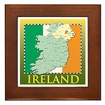 Ireland Map and Flag Framed Tile