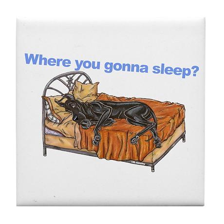 CBlk Where you gonna sleep Tile Coaster