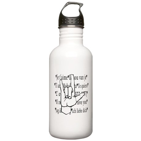 I Love You, ASL Stainless Water Bottle 1.0L