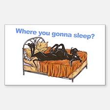 Blk Where you gonna sleep Sticker (Rectangle)
