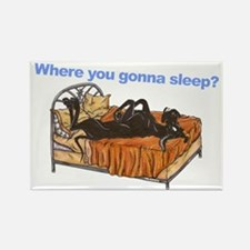 Blk Where you gonna sleep Rectangle Magnet