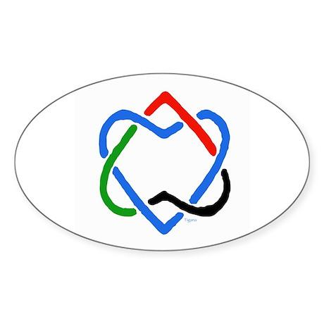 Peace Shalom Salaam Sticker (Oval)