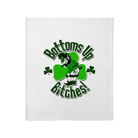 Bottoms Up Bitches Leprechaun Throw Blanket