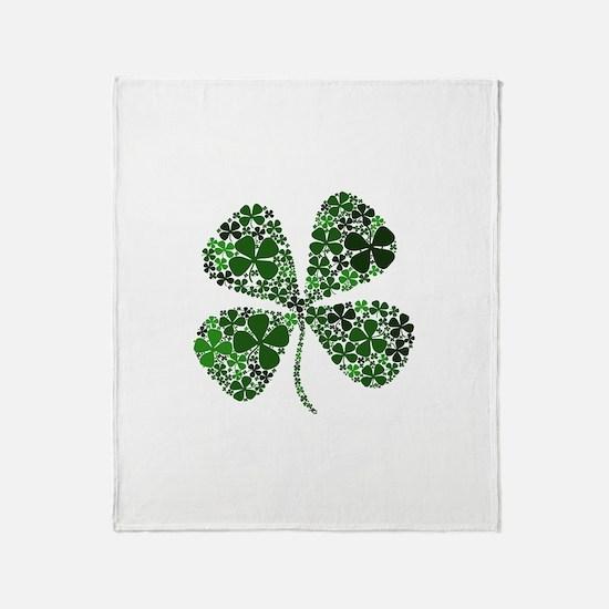 Infinite Luck Four Leaf Clove Throw Blanket