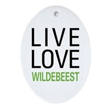 Live Love Wildebeest Ornament (Oval)