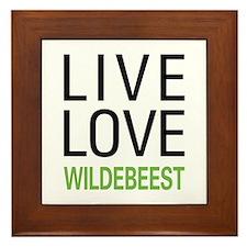 Live Love Wildebeest Framed Tile