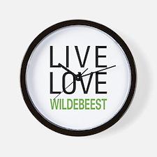 Live Love Wildebeest Wall Clock