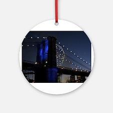 BROOKLYN BRIDGE IN BLUE W FIR Ornament (Round)