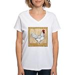 Gold Framed Rooster Women's V-Neck T-Shirt