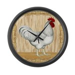 Gold Framed Rooster Large Wall Clock
