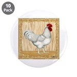"Gold Framed Rooster 3.5"" Button (10 pack)"