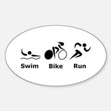 Swim Bike Run Sticker (Oval)