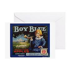 Boy Blue Apples Greeting Card