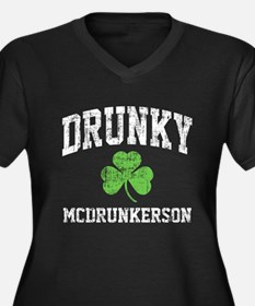 Drunky Women's Plus Size V-Neck Dark T-Shirt