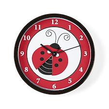 Red Lullabye Ladybug Wall Clock