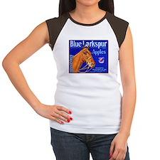 Blue Larkspur Apples Women's Cap Sleeve T-Shirt