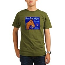 Blue Larkspur Apples Organic Men's T-Shirt (dark)
