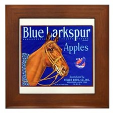 Blue Larkspur Apples Framed Tile