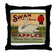 Swan Apples Throw Pillow