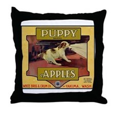 Puppy Apples Throw Pillow