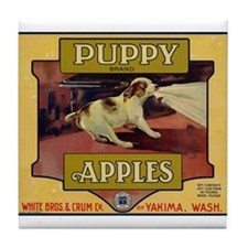 Puppy Apples Tile Coaster
