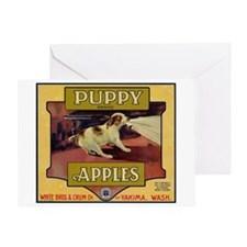 Puppy Apples Greeting Card