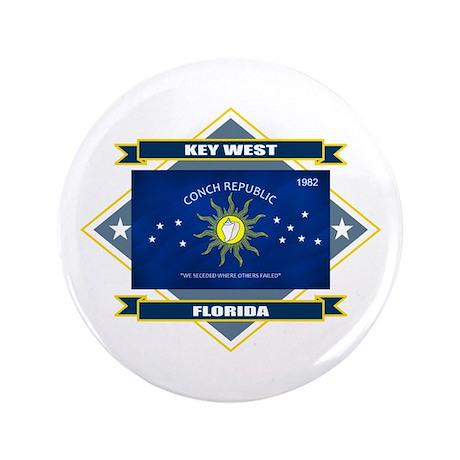 """Key West Flag 3.5"""" Button"""