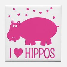 Cute Hippo Tile Coaster