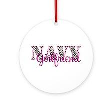 Navy Zebra Girlfriend Ornament (Round)