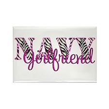 Navy Zebra Girlfriend Rectangle Magnet (10 pack)