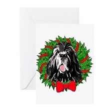 Newf Christmas Wreath Greeting Cards (Pk of 10