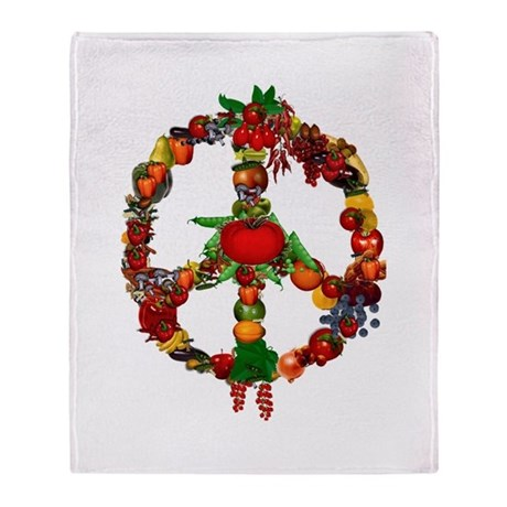Veggie Peace Sign Throw Blanket