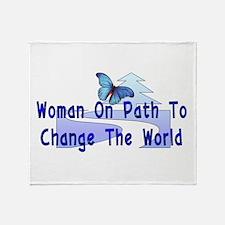 Woman On Path Throw Blanket