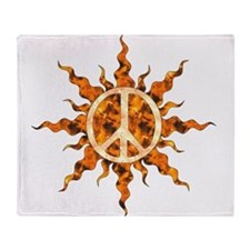 Flaming Peace Sun Throw Blanket