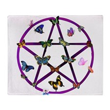 Wiccan Star and Butterflies Throw Blanket