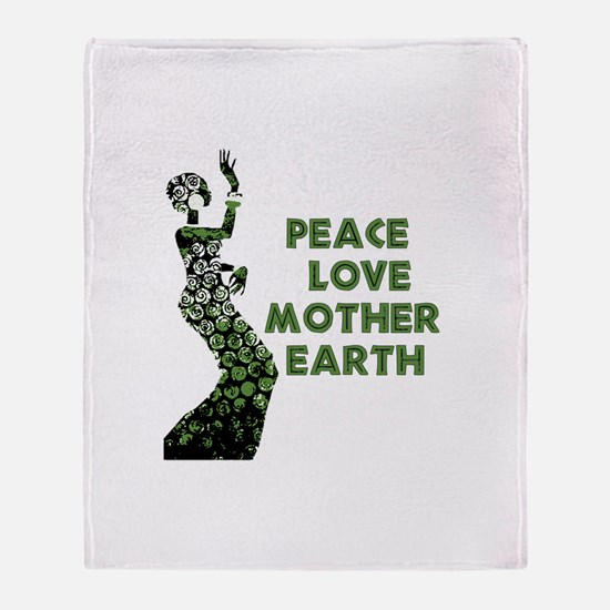 Peace Love Mother Earth Throw Blanket