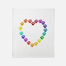 Cat Print Heart Throw Blanket