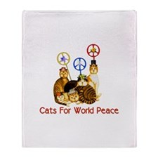 World Peace Cats Throw Blanket