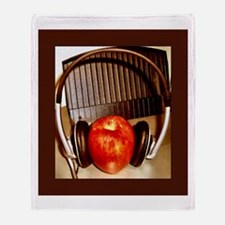 Shiny Red Apple With Headphon Throw Blanket
