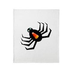 Candy Corn Halloween Spider Throw Blanket