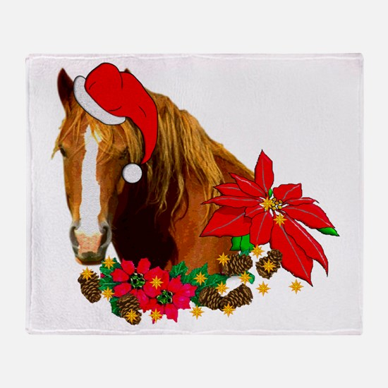 Christmas Horse Throw Blanket