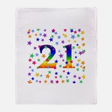 Rainbow Stars 21st Birthday Throw Blanket
