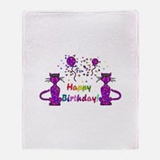 Purple Birthday Cats Throw Blanket