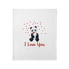 Panda Bear Valentine Throw Blanket